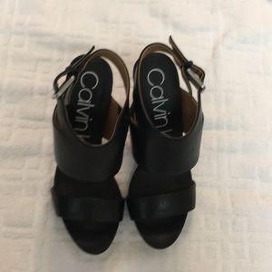 """NWOT CALVIN KLEIN black Sandals w/3"""" block heel"""